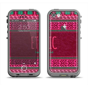 The Glowing Green & Pink Ethnic Aztec Pattern Apple iPhone 5c LifeProof Fre Case Skin Set