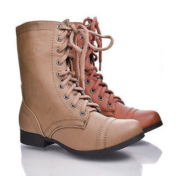 Relax Tan Pu By Soda, Round Toe Combat Military Side Zipper Lace Up Mid Calf Boots