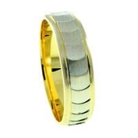Sterling silver Wedding Band, Gold and Rhodium Plated Man