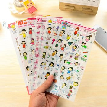 6 Pcs / Pack Free Shipping Cute Stickers Paper Girl Combination Paper Doll Mate