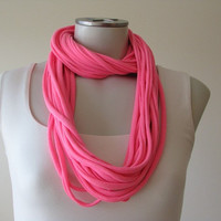 Neon Pink Tshirt scarf, Jersey Infinity Scarf, Tshirt Necklace, Summer Accessory