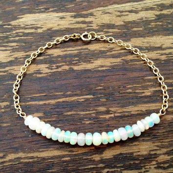 Opal Bracelet - Gold Jewellery - Ethiopian Opal Jewelry - October Birthstone