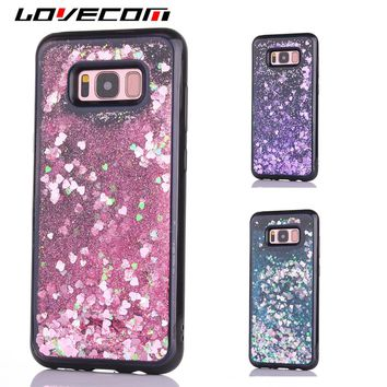 LOVECOM For Samsung Galaxy S8 S8 Plus Glitter Dynamic Liquid Hearts Quicksand Soft TPU Full Body Black Frame Phone Case Cover