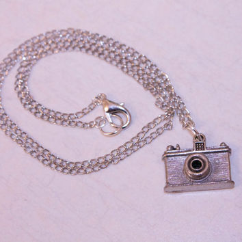 tiny silver camera necklace