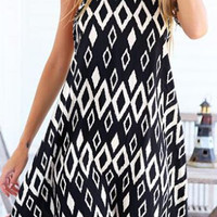 Black Halter Sleeveless Argyle Dress