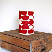 Hand Printed Linen Lamp Shade Red Pebbles by ClothandINK on Etsy