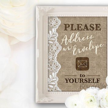 Please Address an Envelope to Yourself, Write Your Address, Address Envelope Sign, Bridal Baby Shower Graduation Fill Out an Envelope Burlap