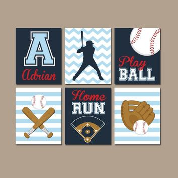 BASEBALL Wall Art, Canvas or Prints, Baseball Theme, Baby Boy Sports Nursery Decor, Big Boy Bedroom Pictures, Sports Theme, Set of 6