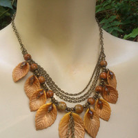 Fall leaves - Handmade necklace and earrings - Polymer jewelry set - Gift for her