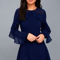 Longtime Love Navy Blue Long Sleeve Skater Dress