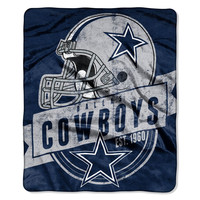 "Dallas Cowboys 50""x60"" Royal Plush Raschel Throw Blanket - Grandstand Design"