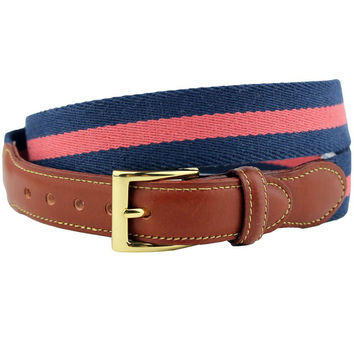 Looks Good with Everything Leather Tab Surcingle Stripe Belt Navy/Nantucket Red by Country Club Prep