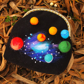 Interstellar collection mysterious universe felted wool handbag