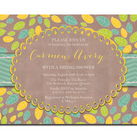 Rustic Bridal Shower Vintage Kraft Leaves Doily Baby Shower Invitation Yellow Aqua Lime & Chevron DIY Printable or Printed - Carmen Style
