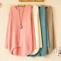 High quality ROUND COLLAR STRIPE LONG SLEEVE KNIT SWEATER