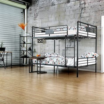 Olga I collection antique black finish metal frame industrial inspired style full over full bunk bed set