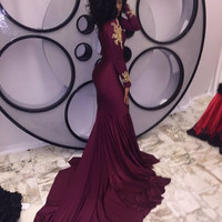 'Picture Perfect' burgundy mermaid prom dress