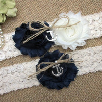 Navy Blue Nautical Anchor Wedding Garter Set, Country Chic Wedding Garter Set, Wedding Accesoories