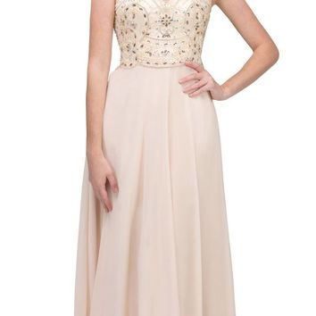 Illusion Sweetheart Neckline Beaded Long Prom Dress Champagne