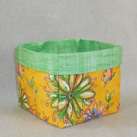 Lovely Yellow Orange Floral Fabric Basket