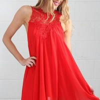 Red Sheer Party Dress with Crotchet Lace Neckline