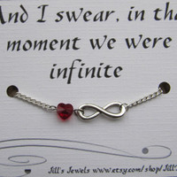 Infinity Love Charm Bracelet with a Heart Crystal and Love Quote Inspirational Card - Bride Gift - Love Quote - Quote Gift