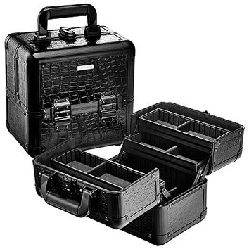 "SEPHORA COLLECTION Embossed Traincase – Medium Black Faux Croc (9 1/2"" W x 9"" H x 6 1/2 "" L )"