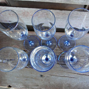Blue stemmed champagne glass /flute by Luminarc from France, light blue stemmed champagne glasses, wedding toasting, engagement toasting