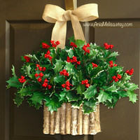 Christmas wreath Winter wreaths holly berry wreaths Seasons Greetings birch bark wreaths front door wreaths Christmas wreaths decorations