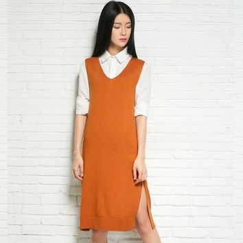 2019 Pure Cashmere  Sweater Vest And Long Sections Pullovers Sweater Sleeveless Casual Dress Women Authentic