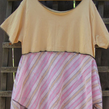 Upcycled Plus Size Lagenlook Creamy Yellow Tunic Shirt/ Funky Asymmetrical Eco Blouse/ Hi Lo Womens Tops L/XL