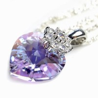 Elegant Love Heart 18 Mm Light Lavender Swarovski Element Crystal Necklace, 925 Sterling Silver Lace Chain Necklace , Diamond Style Rhinestone Crystals Bail - Indulgent Jewelry Crystals