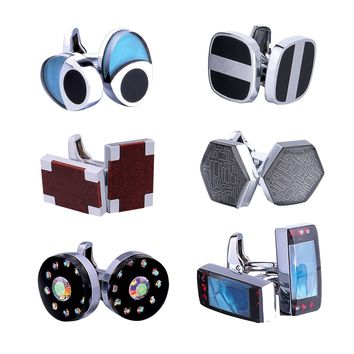 BodyJ4You Cufflink 6 Pairs Geometric Shapes Stylish Modern Men's Cuff Links Elegant Gift Box