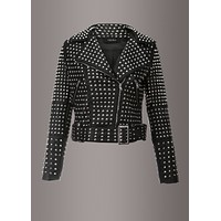 After Party Black Faux Leather All Over Stud Moto Jacket