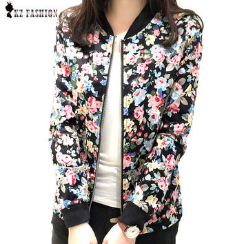 Plus Size 3XL Spring Autumn Fashion Baseball Floral Jacket Women Ditsy Print Zipper Varsity Outwear jaqueta femininas C55302