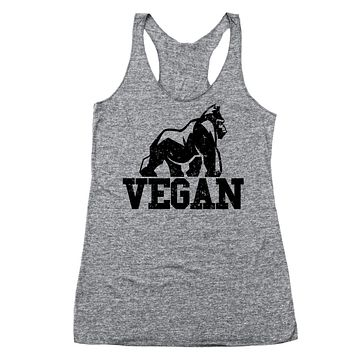 Vegan Gorilla Racer Back Tri-Blend Tank Top