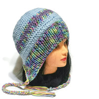 Women Ear flap Cap, Colorfull Chullo Hat, Beanie with Braids, Crochet Hood Hat, Retro Headwear, Female Vintage Gift, Knitted Bonnet, Ushanka