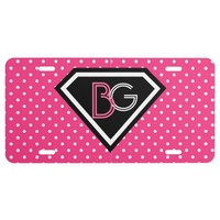 Monogram, Pink Polka Dots License Plate