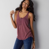 AEO Henley Tank, Maroon Lagoon | American Eagle Outfitters