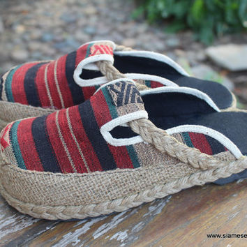 Womens Clogs  in Striped Tribal Naga Slip On Slide Shoes Vegan