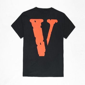 Vlone Friends Fashion Print Cotton Round-Neck Tunic Shirt Top Blouse