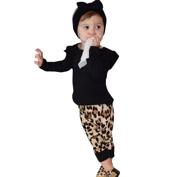 Cute Black Newborn Baby Girl Unisex Leopard Print O-Neck Long Sleeve Tops+Pants Outfits KIDS Clothes Set Infant Clothing
