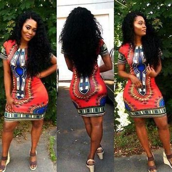 ONETOW Women Boho Dashiki Dresses Shirt African Gsypy Clubwear Short Mini Dress Women Clothing
