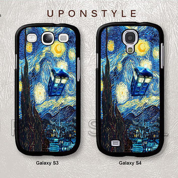 Phone Cases, Samsung Galaxy S4 case, Galaxy S3 case, TARDIS Doctor Who, Starry Night, Phone Covers, Skins, Case for Samsung, Case No-215
