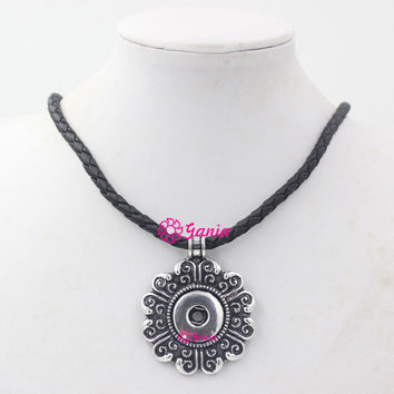 VIP 100% New Arrival DIY Snap Jewelry Black PU Leather Necklace with 18mm Button Flower Interchangeable Snap Pendant Necklace Collier