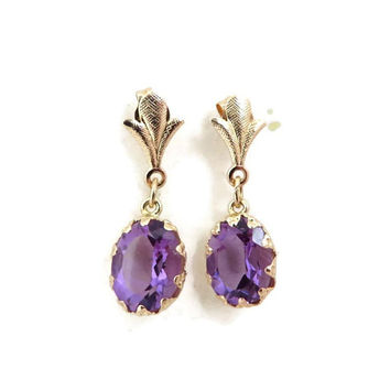 Amethyst Earrings, Gold Dangles, Vintage 14K Yellow Gold Dangling Amethyst Stud Earrings, Gift Idea, Vintage Jewelry