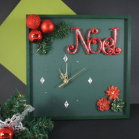 Christmas Decoration, Unique Wall Clock with Noel Christmas Sign, Holiday Noel Wall Decor, Christmas Gift