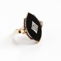 Vintage 10K Rosy Yellow Gold Black Onyx & Diamond Ring - Vintage Size 7 1/2 Fine Marquise Navette Stone Jewelry
