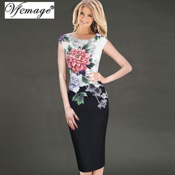 Vfemage Womens Elegant Vintage Flower Floral Printed Ruched Casual Vestidos Bridesmaid Mother of Bride Evening Party Dress 3156