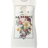 White Floral Ma Beaute Tank Top